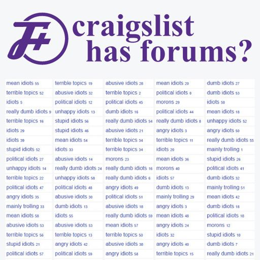 237: Craigslist Has Forums? from The F Plus on RadioPublic