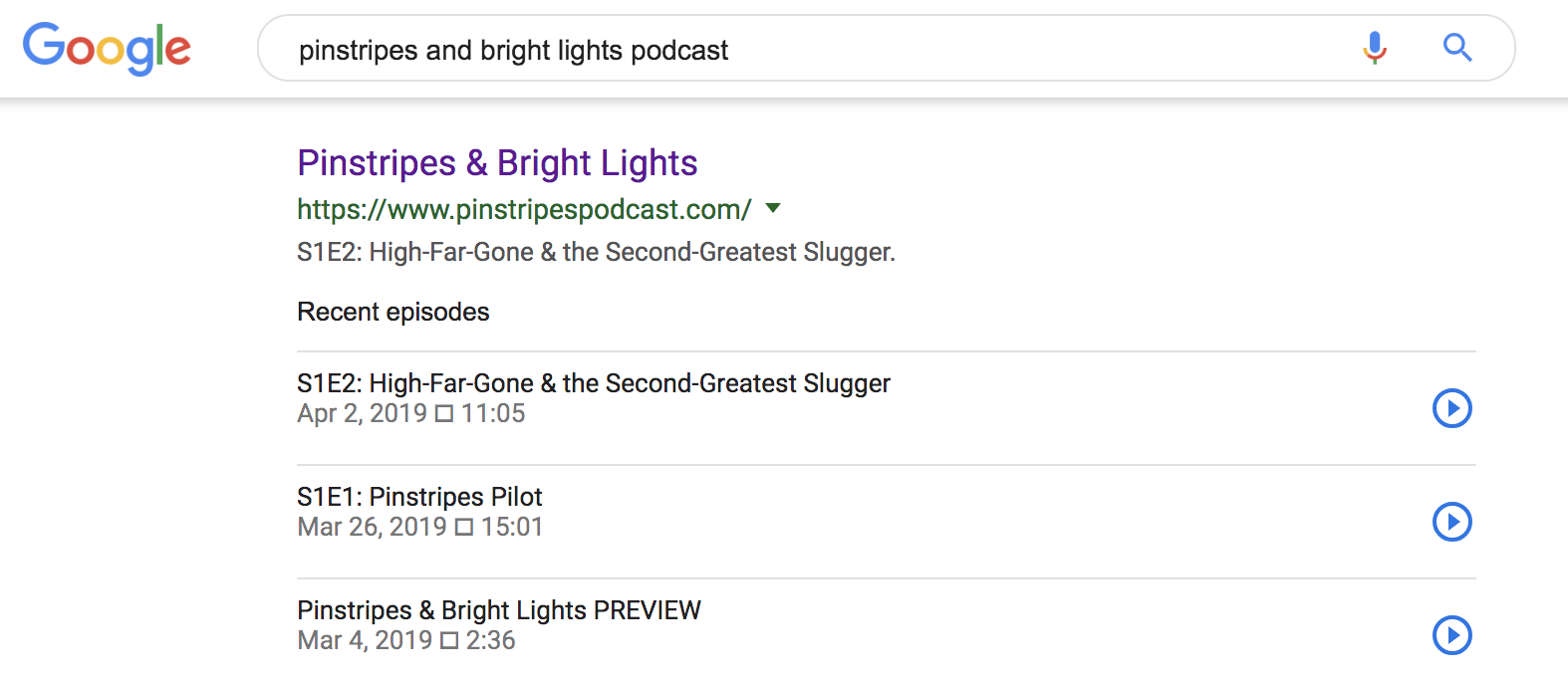 Search results for Podsites now include playable audio.