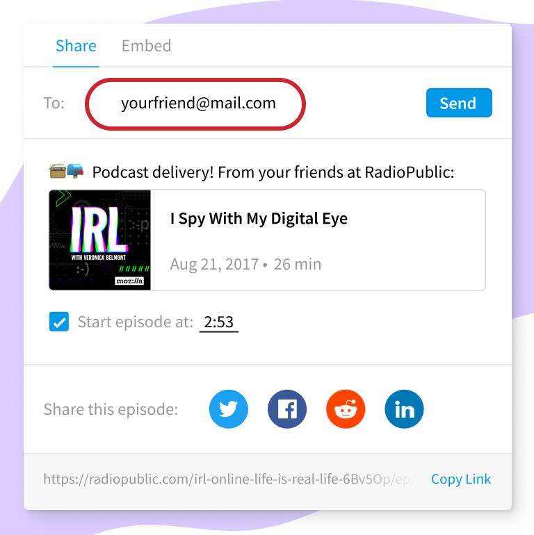 Share podcasts via email